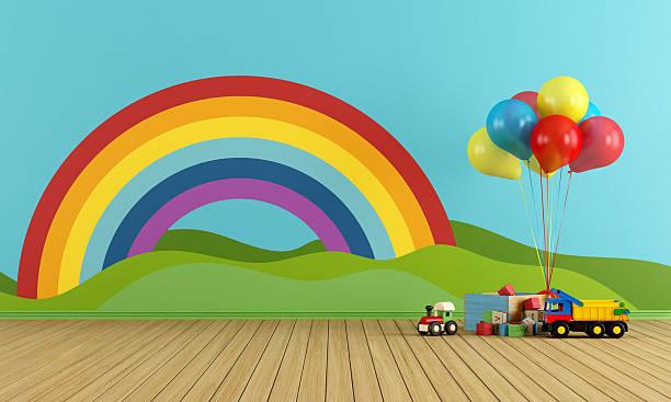 leere spielzimmer mit regenbogen und spielzeug - lila, grün, schlafzimmer stock-fotos und bilder