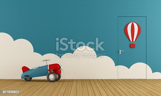Empty playroom with toy airplane on wooden floor ,clouds and closed door - 3d rendering