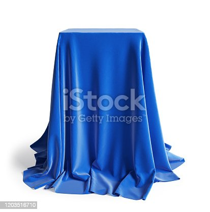 Empty podium covered with blue silk cloth. Isolated on a white background with clipping path. 3d illustration