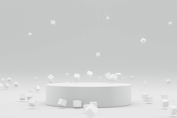 Empty podium or pedestal display on white background with abstract geometric and futuristic concept. Blank product shelf standing backdrop. 3D rendering. stock photo