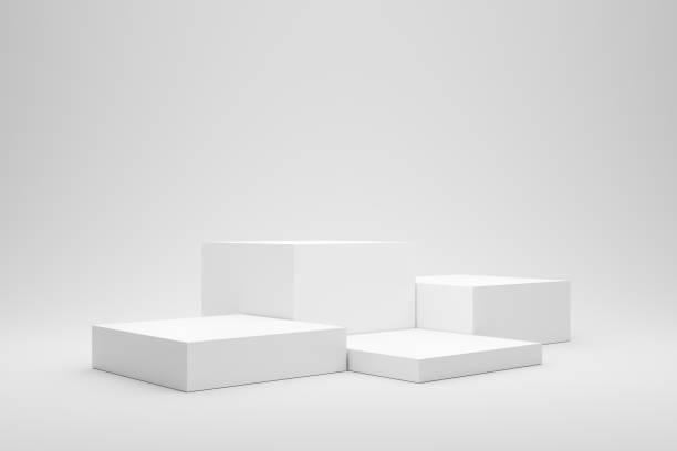 Empty podium or pedestal display on white background with box stand concept. Blank product shelf standing backdrop. 3D rendering. stock photo