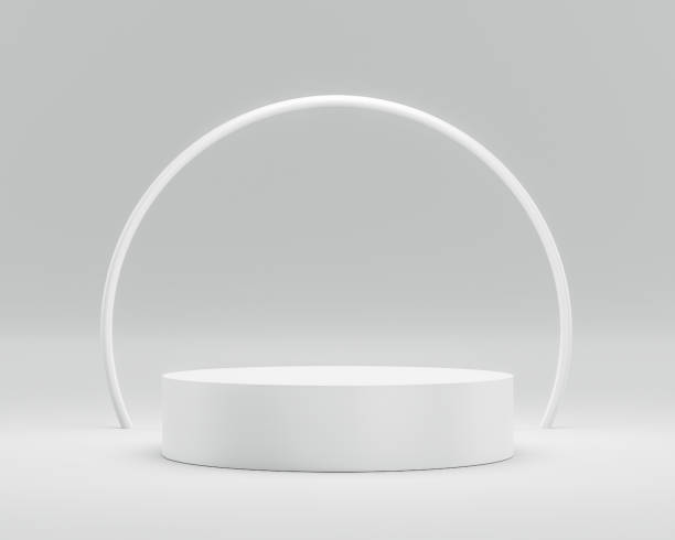 Empty podium or pedestal display on white background with circle ring and success concept. Blank product shelf standing backdrop. 3D rendering. stock photo