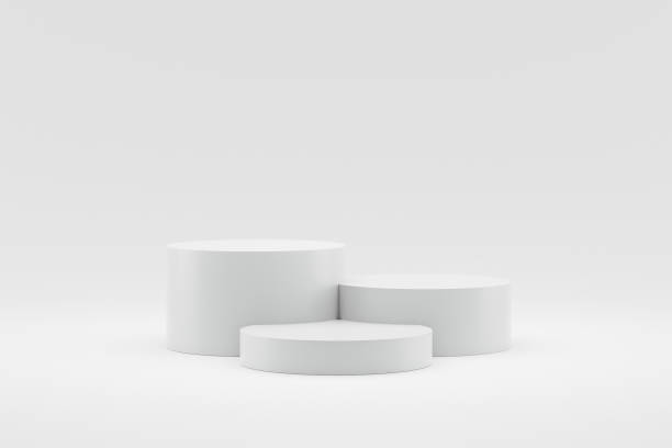 Empty podium or pedestal display on white background with cylinder stand concept. Blank product shelf standing backdrop. 3D rendering. stock photo