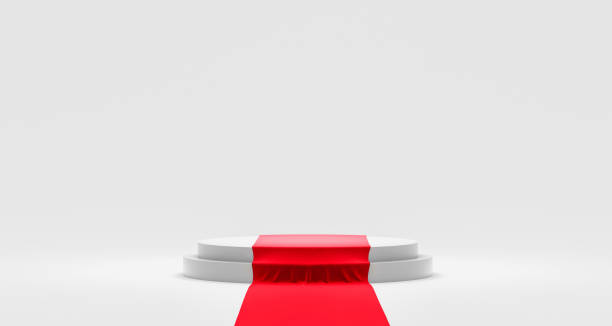 Empty podium or pedestal display on white background with red carpet and exclusive concept. Blank product shelf standing backdrop. 3D rendering. stock photo