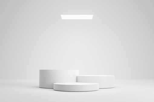 Empty podium or pedestal display on white room and light background with futuristic stand concept. Blank product shelf standing backdrop. 3D rendering.
