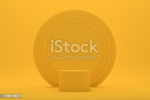 istock Empty Podium, Pedestal, Showcase, Product Stand on Yellow Background 1139725512