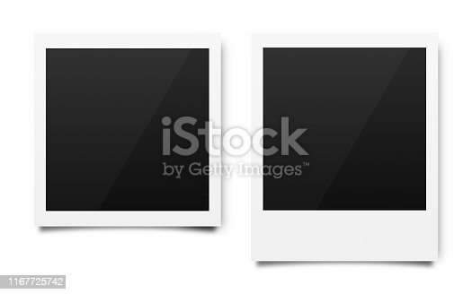 Empty polaroid photo frames mockups template on a pure white background for putting your pictures. Paper sheet for printing images or recording picture of film cameras. ( Clipping path )