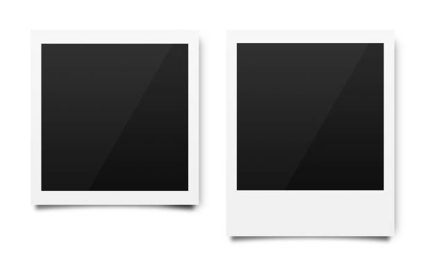 empty polaroid photo frames mockups template on a pure white background for putting your pictures. paper sheet for printing images or recording picture of film cameras. ( clipping path ) - frame imagens e fotografias de stock