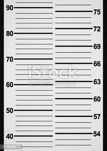 A blank mug shot template to be used in your composites depicting a person being arrested and photographed by law enforcement.  Vertical image.
