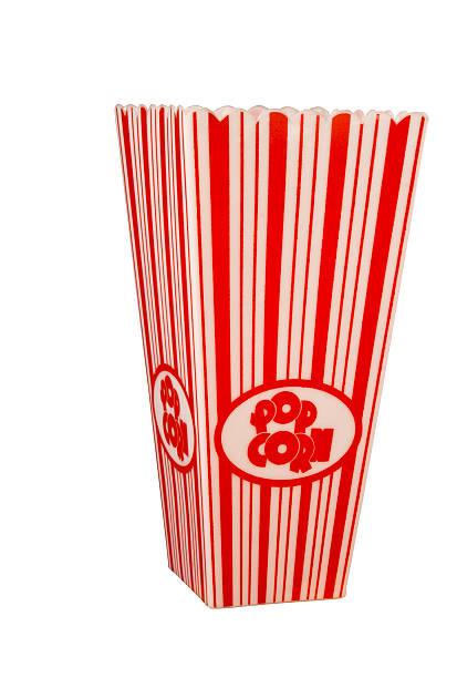 empty popcorn box isolated on white stock photo