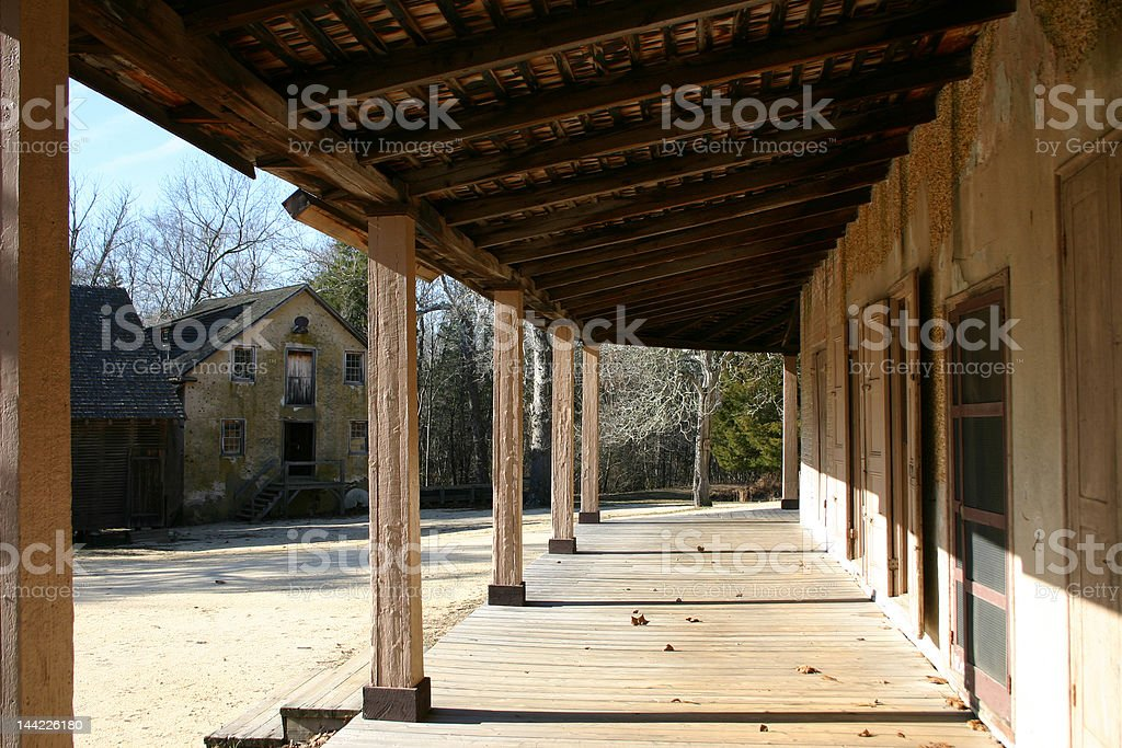 Empty Porch in an Outback Town stock photo
