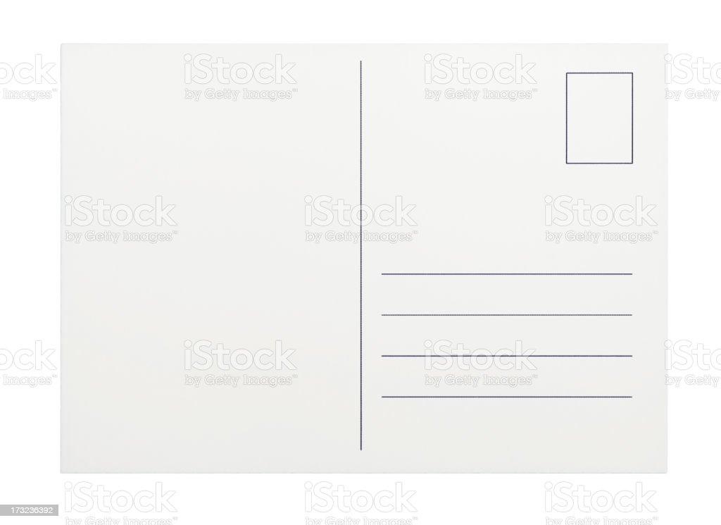 Empty postcard on white background stock photo