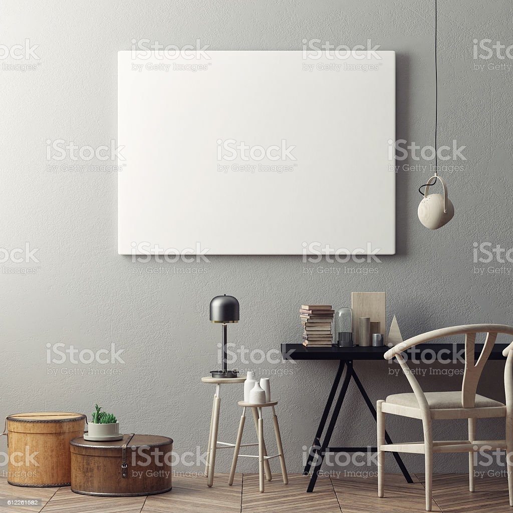 Empty poster in hipster office stock photo