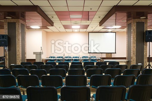 istock Empty presentation room ready for meeting 670194570