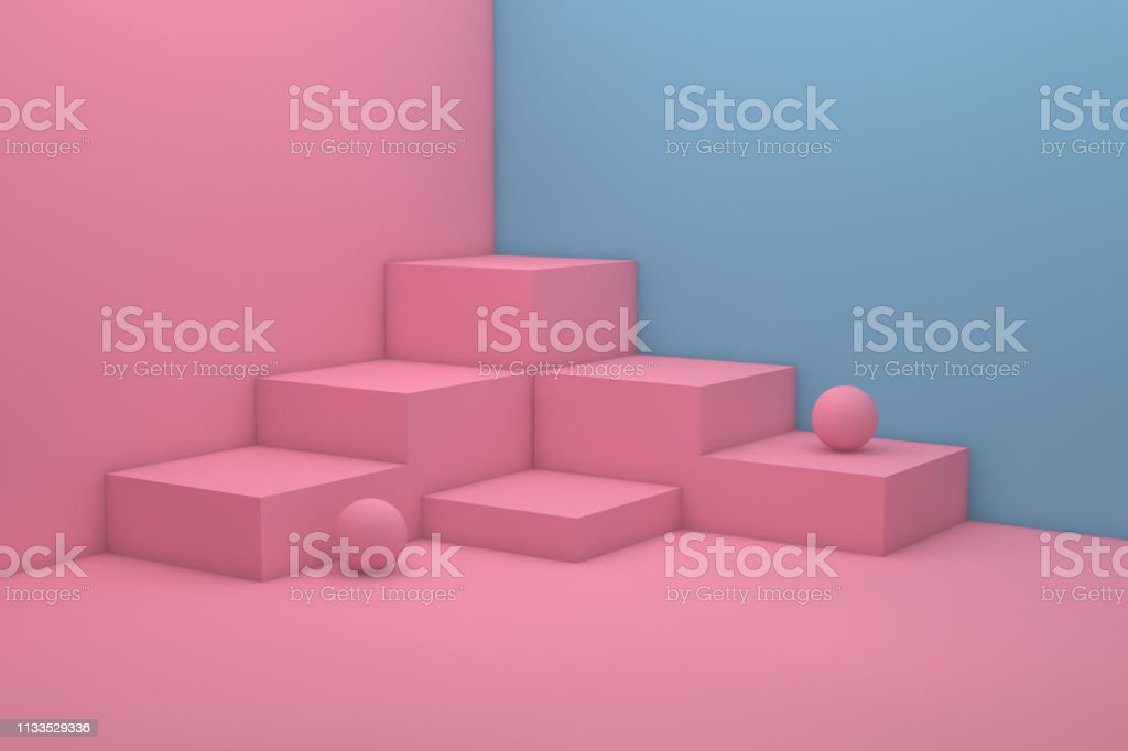 3D Empty Product Stand, Pedestal, Showcase, Abstact Minimal Background stock photo