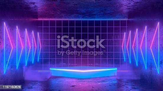 Ultraviolet Neon Laser Glowing Lines and Smoke, Light Tunnel, Abstract 3D Background. 3D Rendering, Copy space for advertisement. Empty Product Stand, Platform in Dark Room for the Product placement.