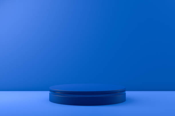 3D Empty Product Stand, Platform on blue background stock photo