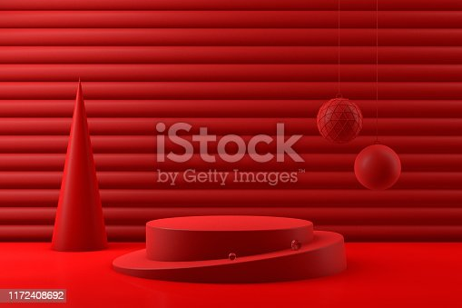 3d rendering of empty product stand, platform on red background, bright colors, Christmas, new year concept. Christmas ornaments.