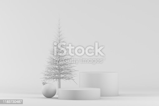 3d rendering of empty product stand, platform on white background, white colors, Christmas, new year concept. Christmas ornaments.