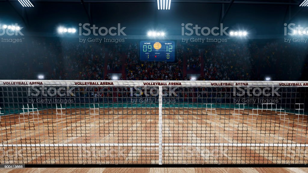 Empty professional volleyball court in lights stock photo