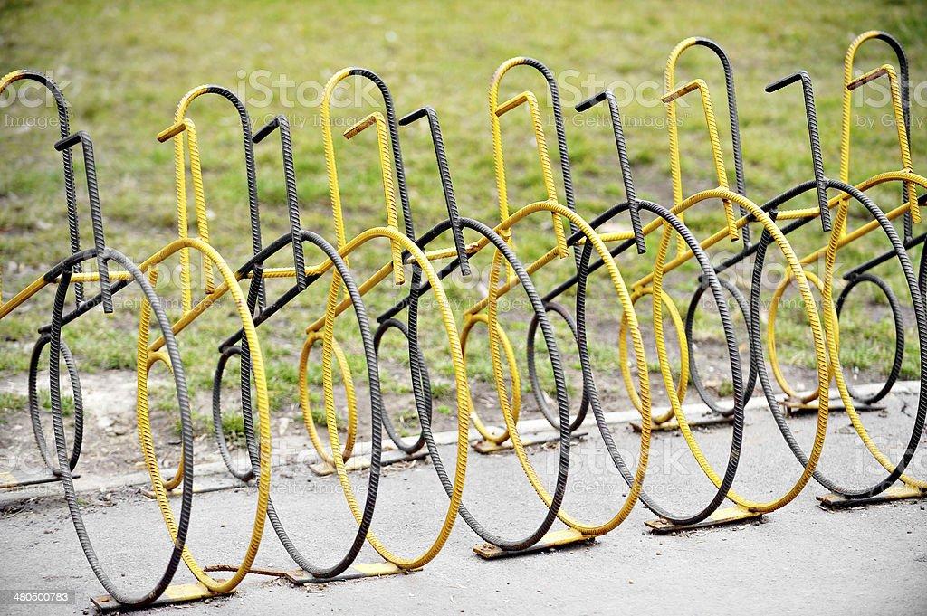 Empty public bicycle rack stock photo