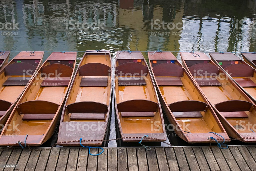 Empty punts ready for hire stock photo