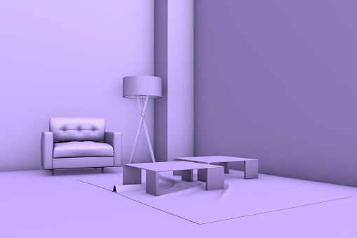 3D Empty Purple Room with Armchair, Coffee Tables, Carpet and Floor Lamp