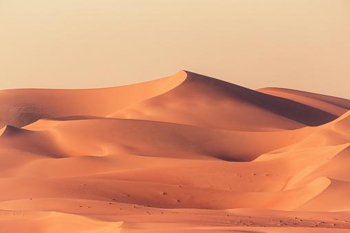 Empty Quarter Desert Dunes. A sea of sand in the Rub' al Khali Desert under atmospheric sunset light. Empty Quarter Desert Dunes near the border of Saudi Arabia and the United Arab Emirates. Emirate of Abu Dhabi, United Arab Emirates, Middle East