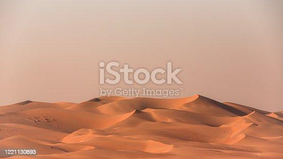 Landscape Panorama of Empty Quarter Desert Dunes. Sea of sand in the Rub' al Khali Desert under atmospheric sunset light. Desert Dunes near the border of Saudi Arabia and the United Arab Emirates. Emirate of Abu Dhabi, United Arab Emirates, Middle East