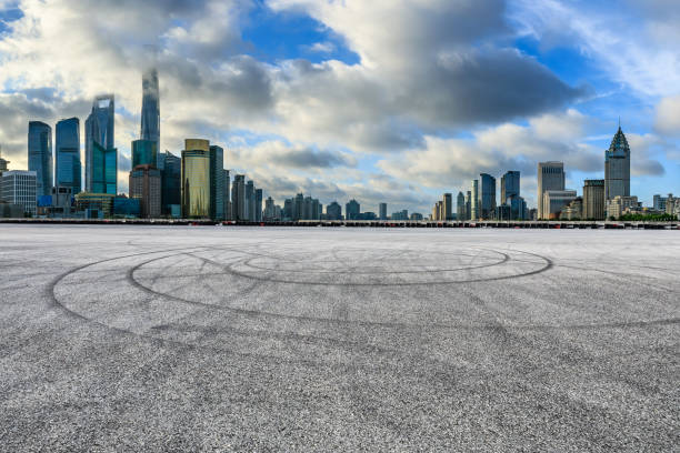 Cтоковое фото Empty race track and modern city scenery in Shanghai