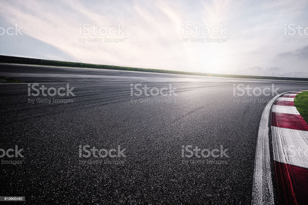 Empty Racing Track With Sunlight stock photo