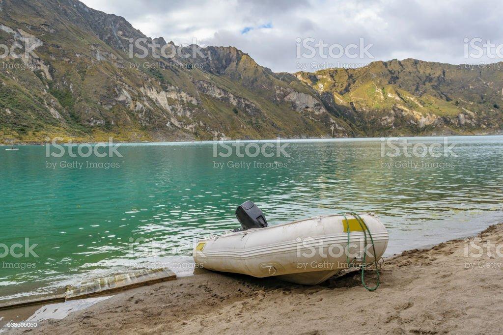 Empty Raft Boat at Quilotoa Lake, Ecuador stock photo