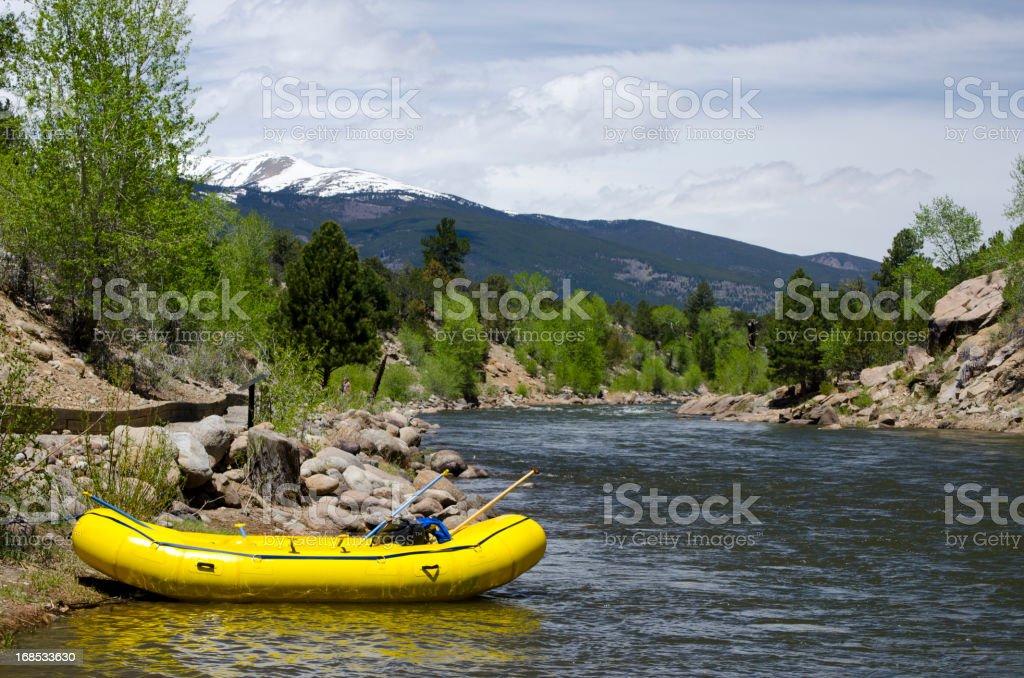 Empty Raft on the Arkansas River royalty-free stock photo