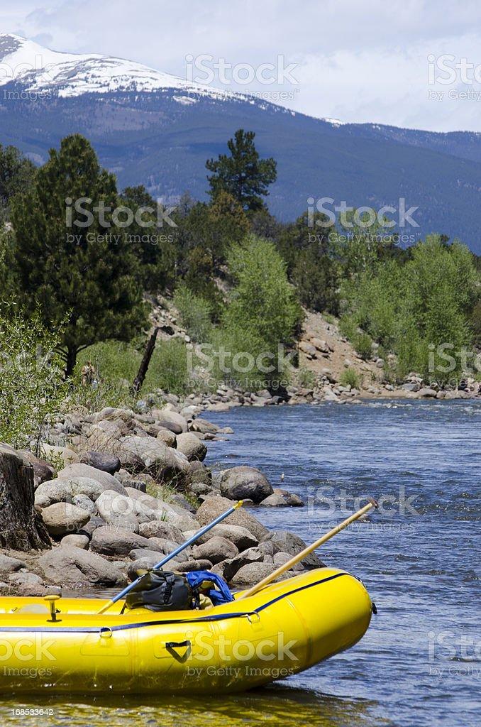 Empty Raft on the Arkansas River stock photo