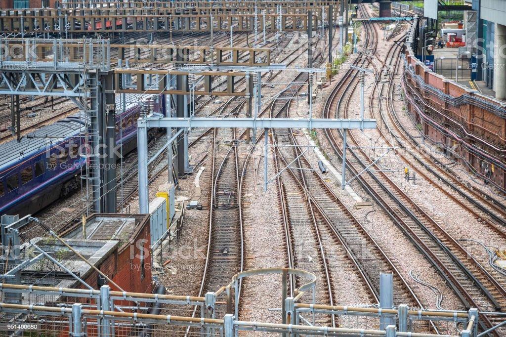 Empty railroad tracks for train transportation
