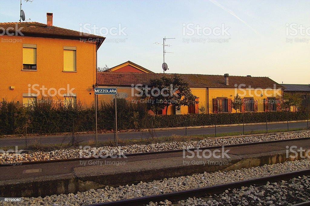 Empty railway station stock photo