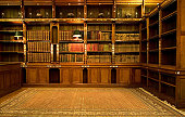 Retro reading room with old books
