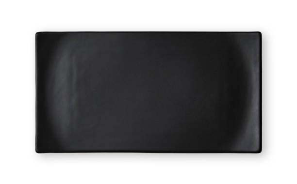 Empty rectangular plate, Black ceramics plate, View from above isolated on white background with clipping path stock photo