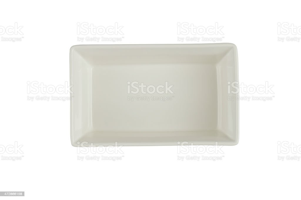 Empty rectangular Plate (clipping path) stock photo