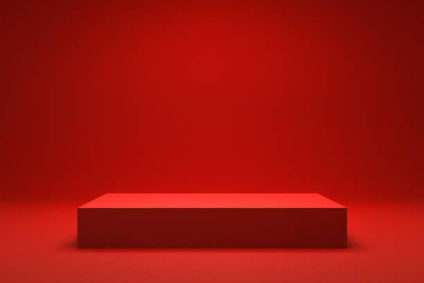 Empty Red background and stand display or shelf with studio for showing or design christmas concept. Blank backdrop made from cement material. Realistic 3D render. stock photo