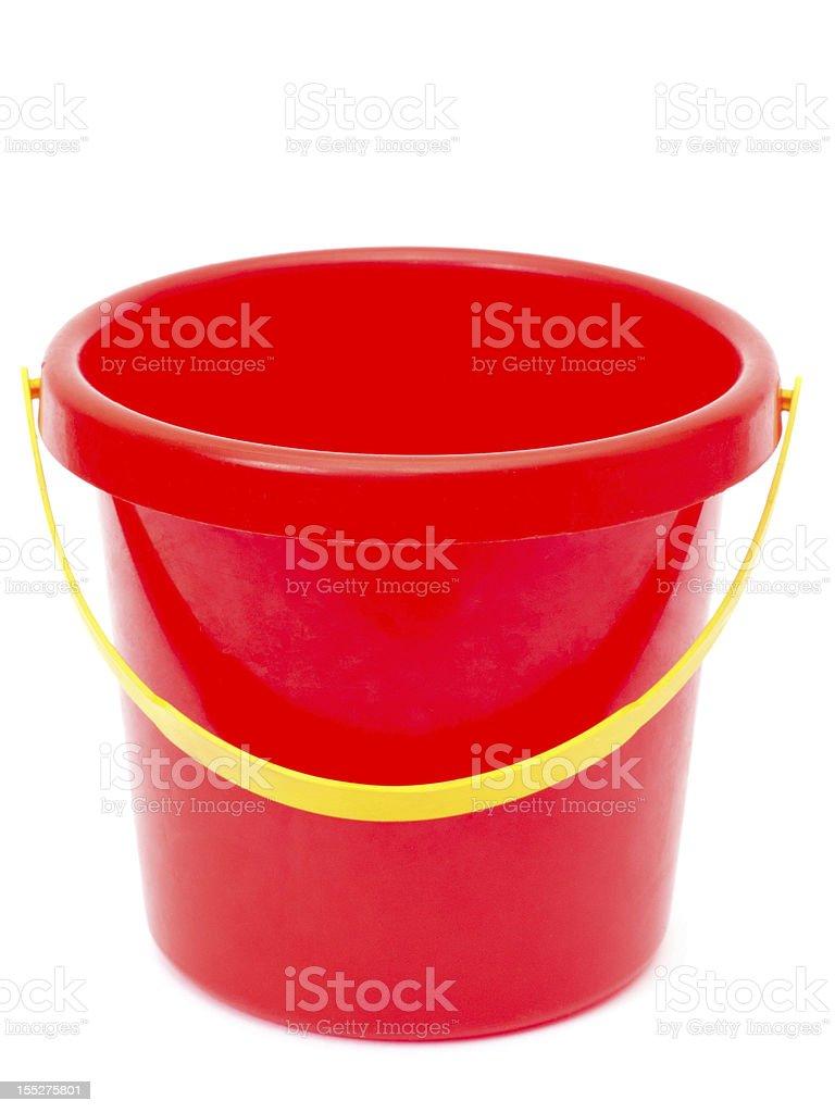empty red bucket stock photo