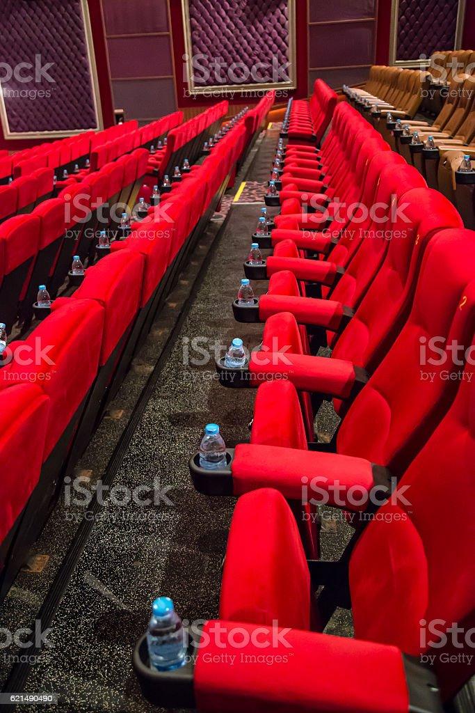 Leere Rot Kino oder theater Sitzplätze Lizenzfreies stock-foto