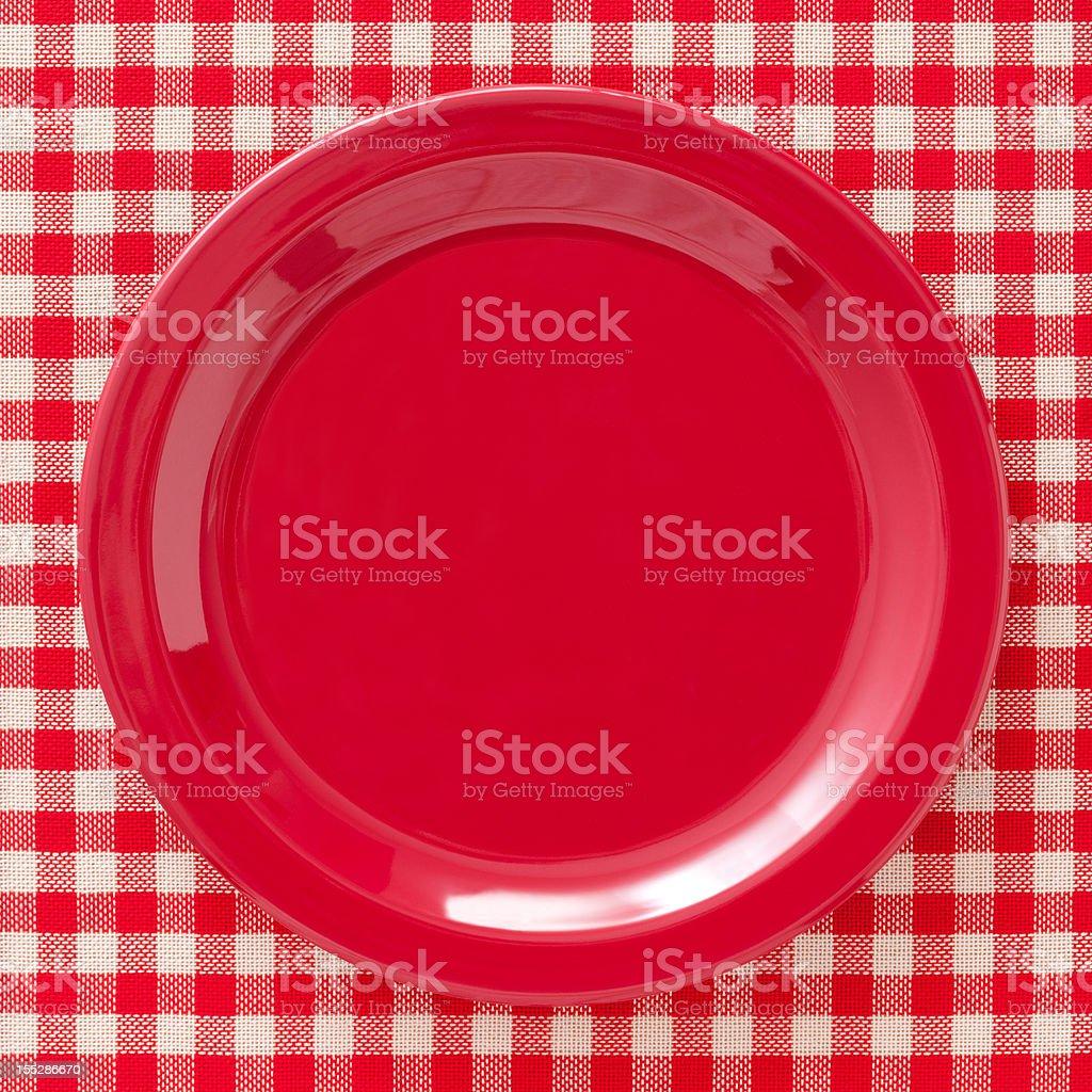 Empty red dish stock photo