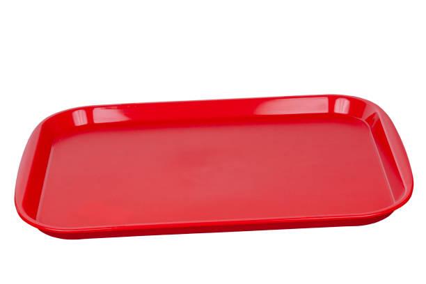 lege rode plastic bak. - schotel stockfoto's en -beelden