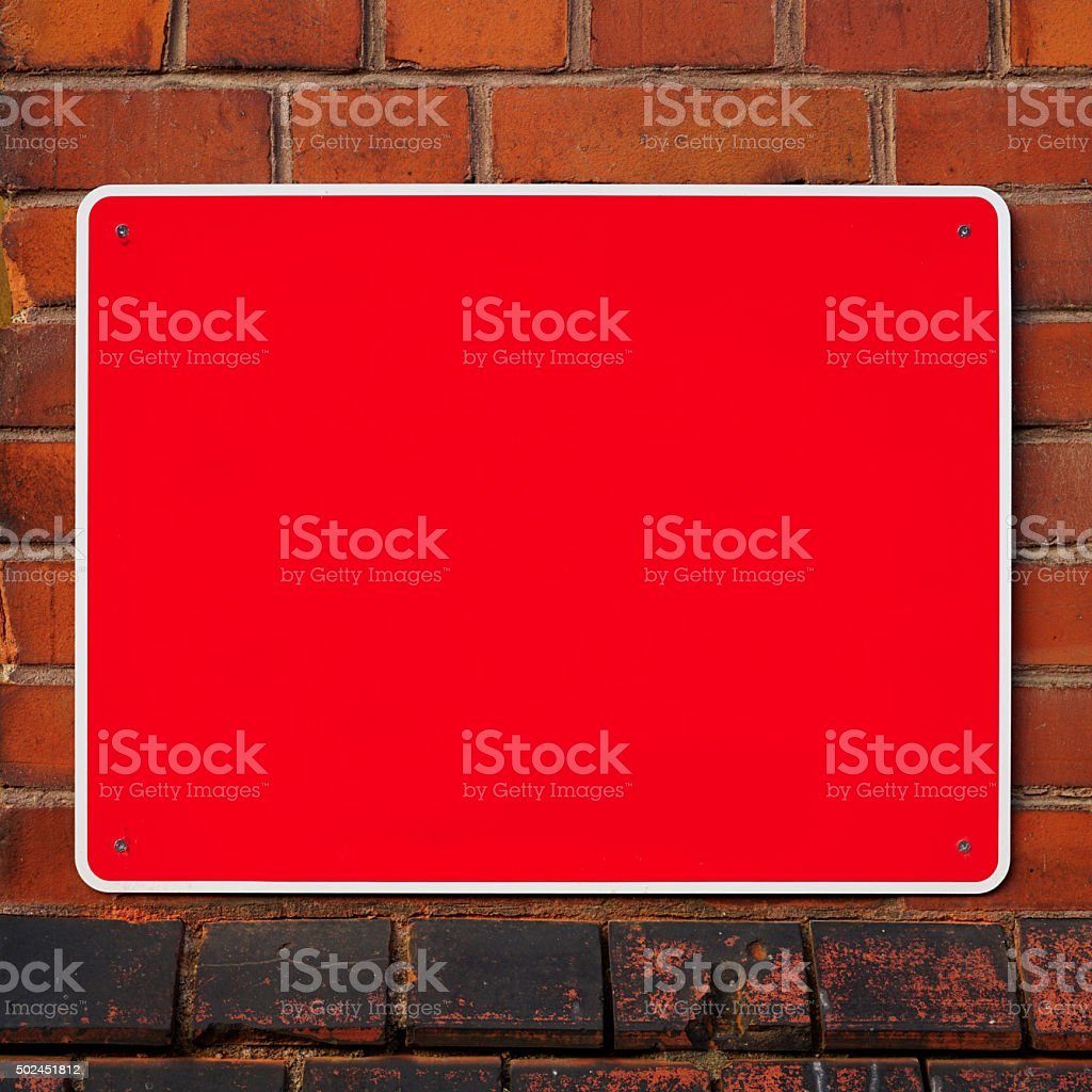 Empty red sign stock photo