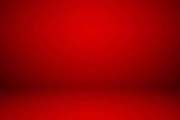 Empty red studio room, used as background for display your products stock photo
