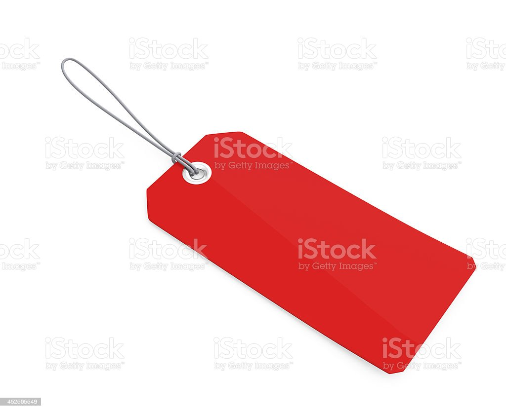 Empty red tag with cord stock photo
