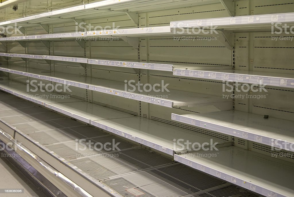 Empty Refrigerated Supermarket Shelves royalty-free stock photo