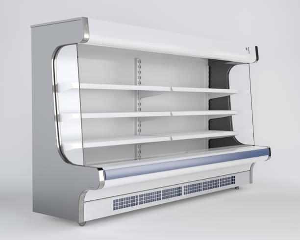 Empty Refrigerator Shelf stock photo