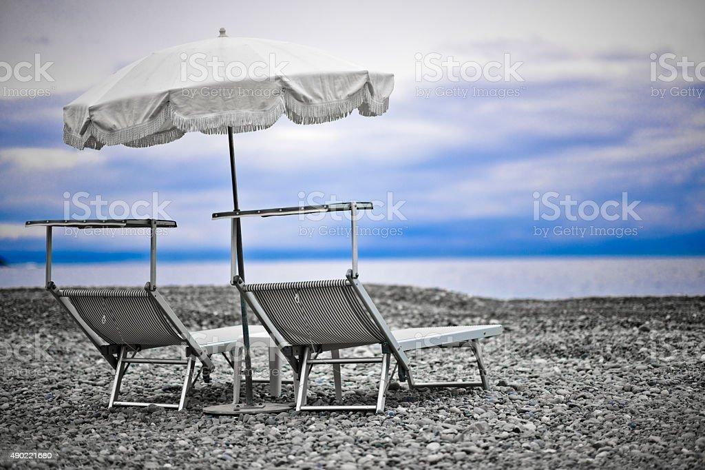 Empty refugee beach stock photo